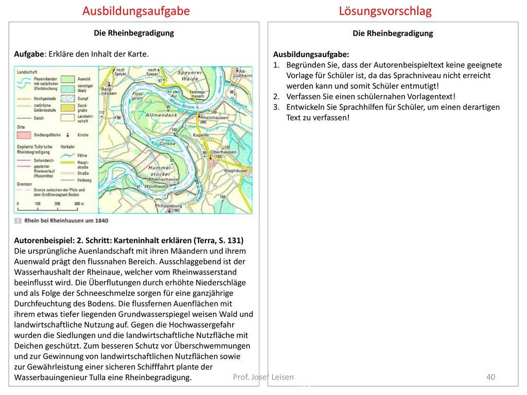 Ausbildungsaufgabe Lösungsvorschlag Die Rheinbegradigung