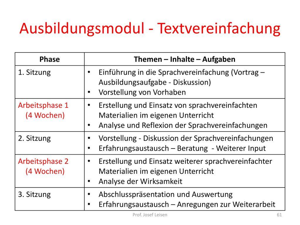 Ausbildungsmodul - Textvereinfachung
