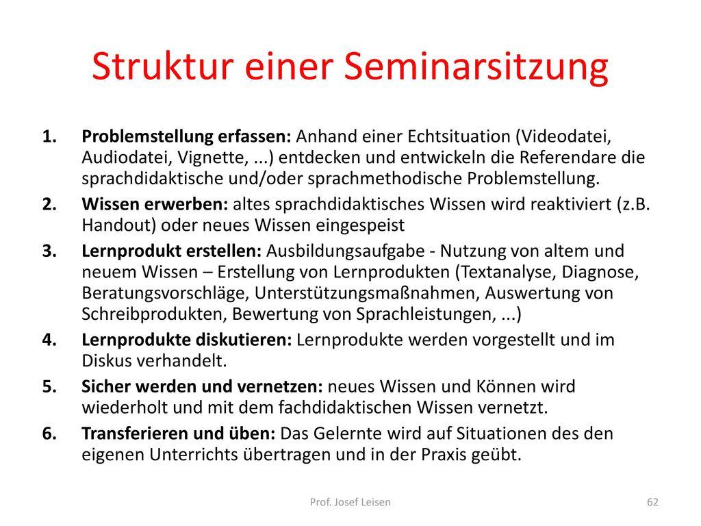 Struktur einer Seminarsitzung