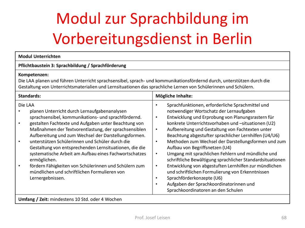 Modul zur Sprachbildung im Vorbereitungsdienst in Berlin
