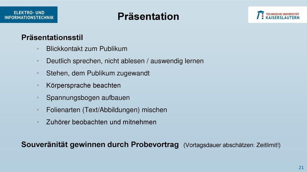 Präsentation Präsentationsstil