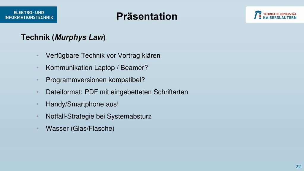 Präsentation Technik (Murphys Law)