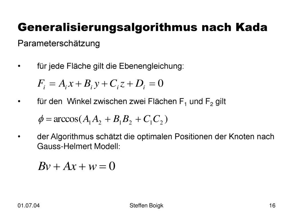 Generalisierungsalgorithmus nach Kada