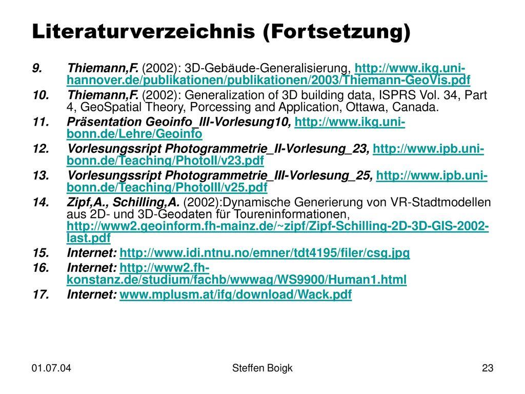 Literaturverzeichnis (Fortsetzung)