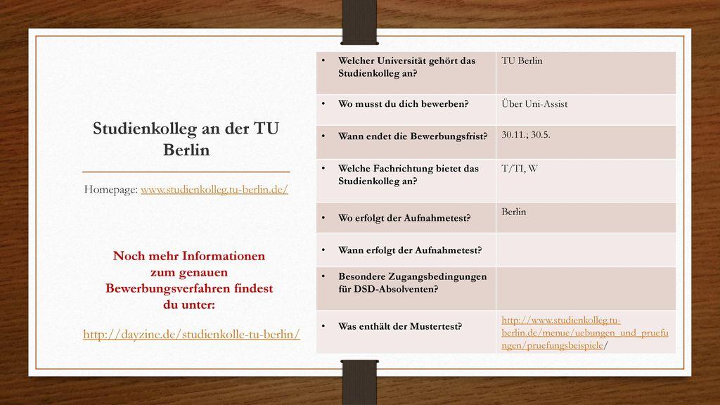 Studienkolleg an der TU Berlin