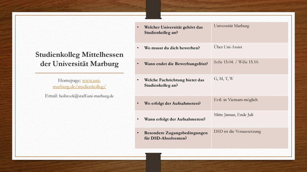 Studienkolleg Mittelhessen der Universität Marburg