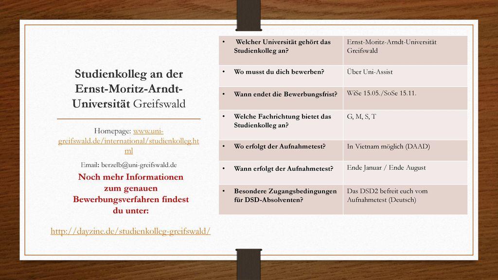 Studienkolleg an der Ernst-Moritz-Arndt-Universität Greifswald