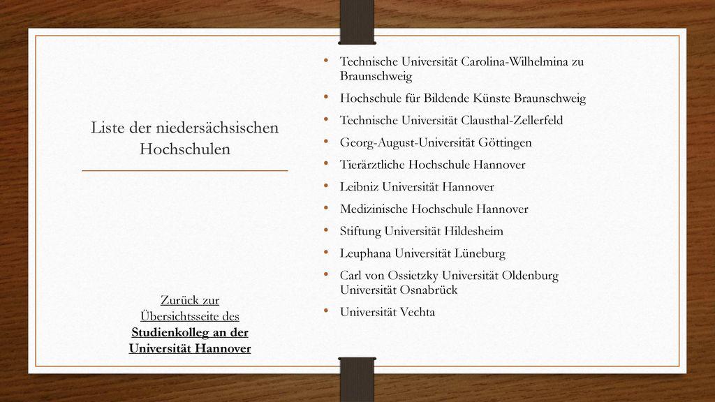 Liste der niedersächsischen Hochschulen