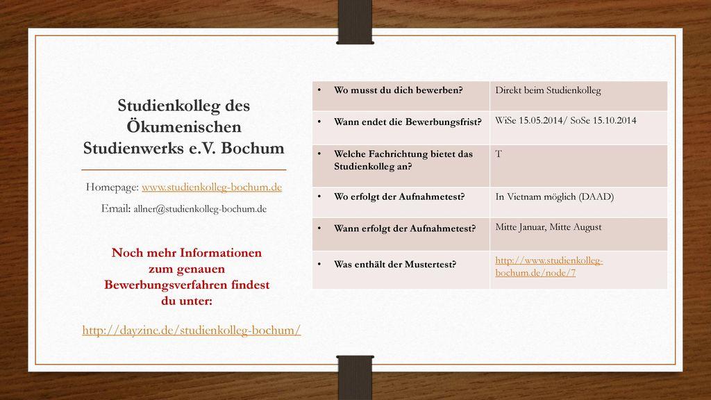 Studienkolleg des Ökumenischen Studienwerks e.V. Bochum