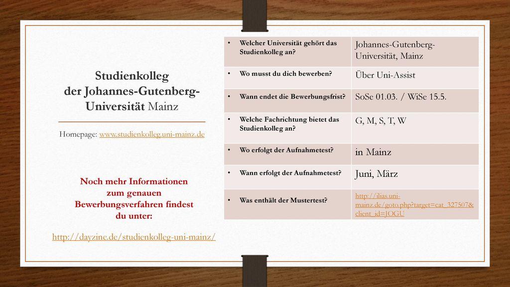 Studienkolleg der Johannes-Gutenberg-Universität Mainz