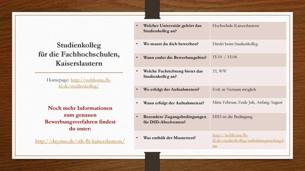 Studienkolleg für die Fachhochschulen, Kaiserslautern