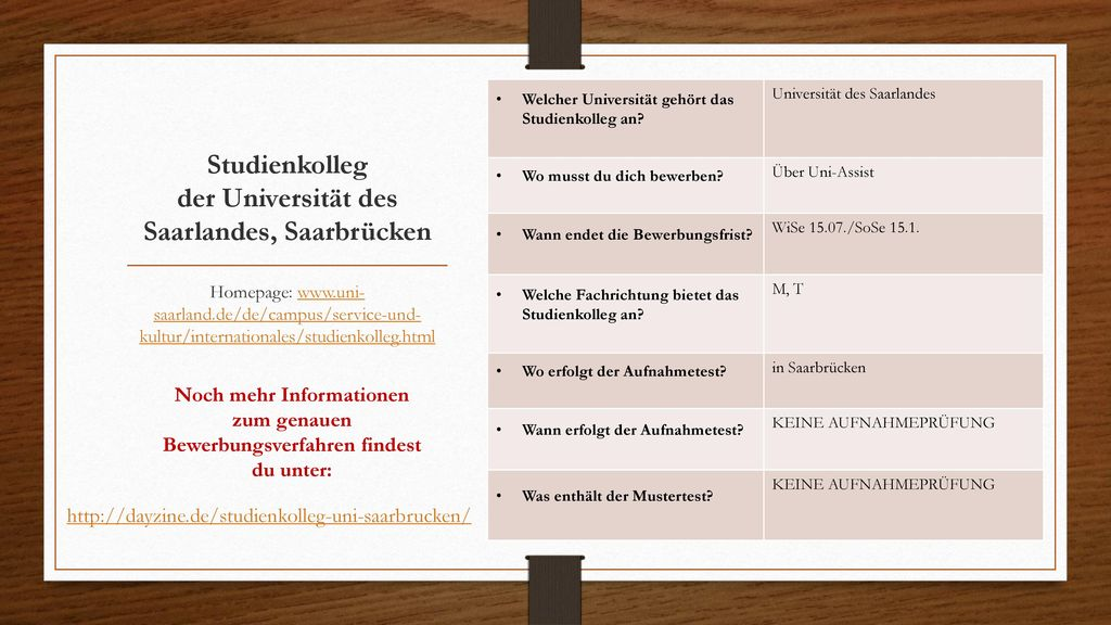 Studienkolleg der Universität des Saarlandes, Saarbrücken
