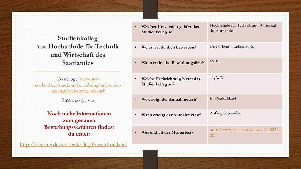 Studienkolleg zur Hochschule für Technik und Wirtschaft des Saarlandes