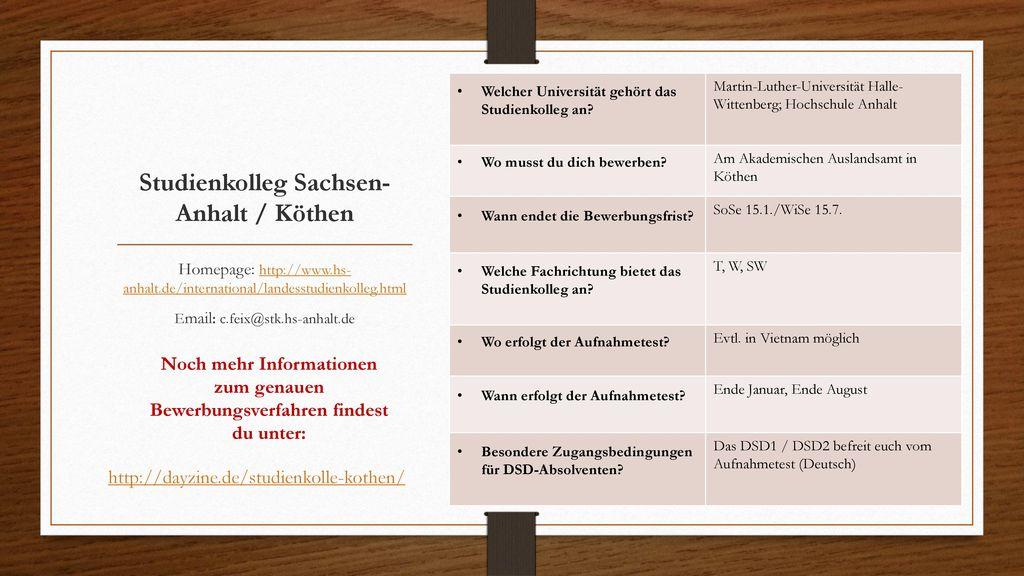 Studienkolleg Sachsen-Anhalt / Köthen