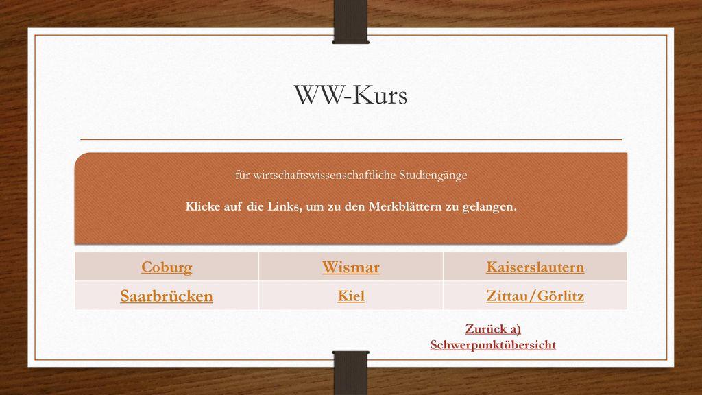 WW-Kurs Wismar Saarbrücken Coburg Kaiserslautern Kiel Zittau/Görlitz