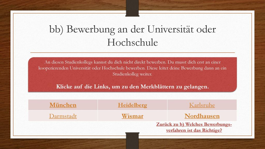 bb) Bewerbung an der Universität oder Hochschule