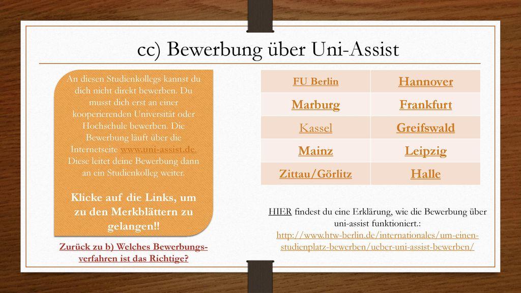 cc) Bewerbung über Uni-Assist