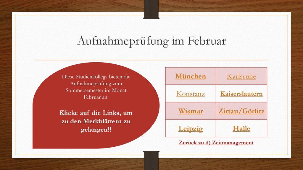 Aufnahmeprüfung im Februar