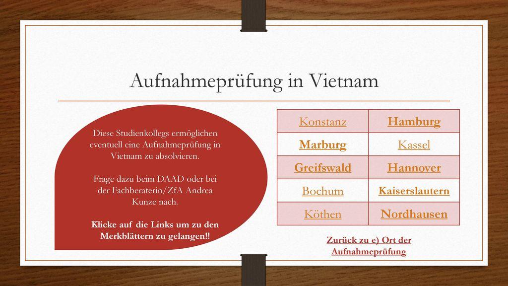 Aufnahmeprüfung in Vietnam