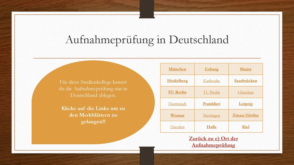 Aufnahmeprüfung in Deutschland