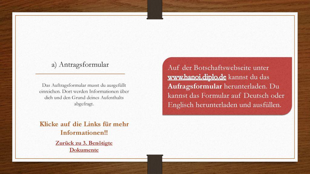 a) Antragsformular