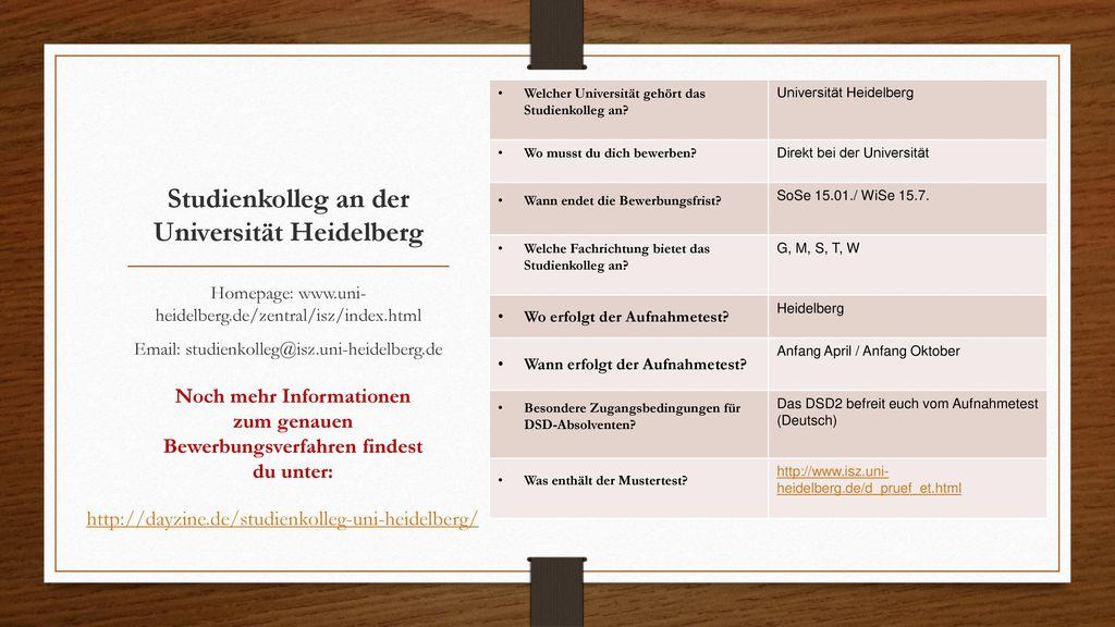 Studienkolleg an der Universität Heidelberg