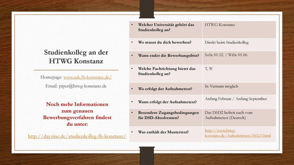 Studienkolleg an der HTWG Konstanz