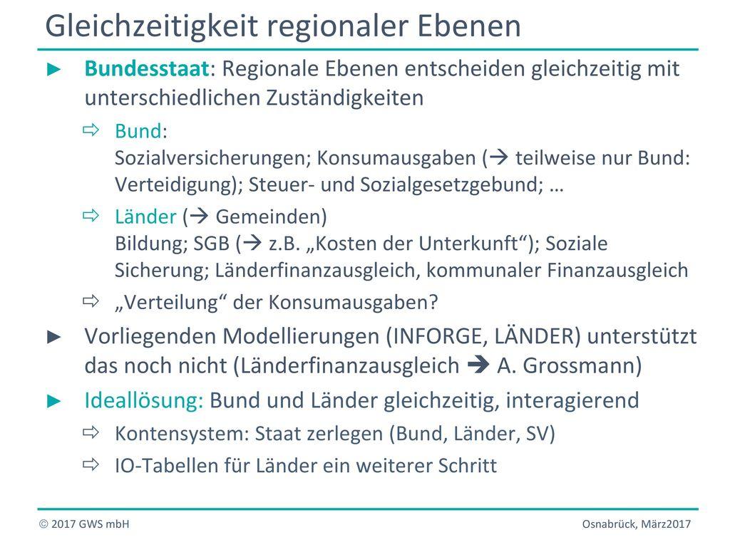 Gleichzeitigkeit regionaler Ebenen