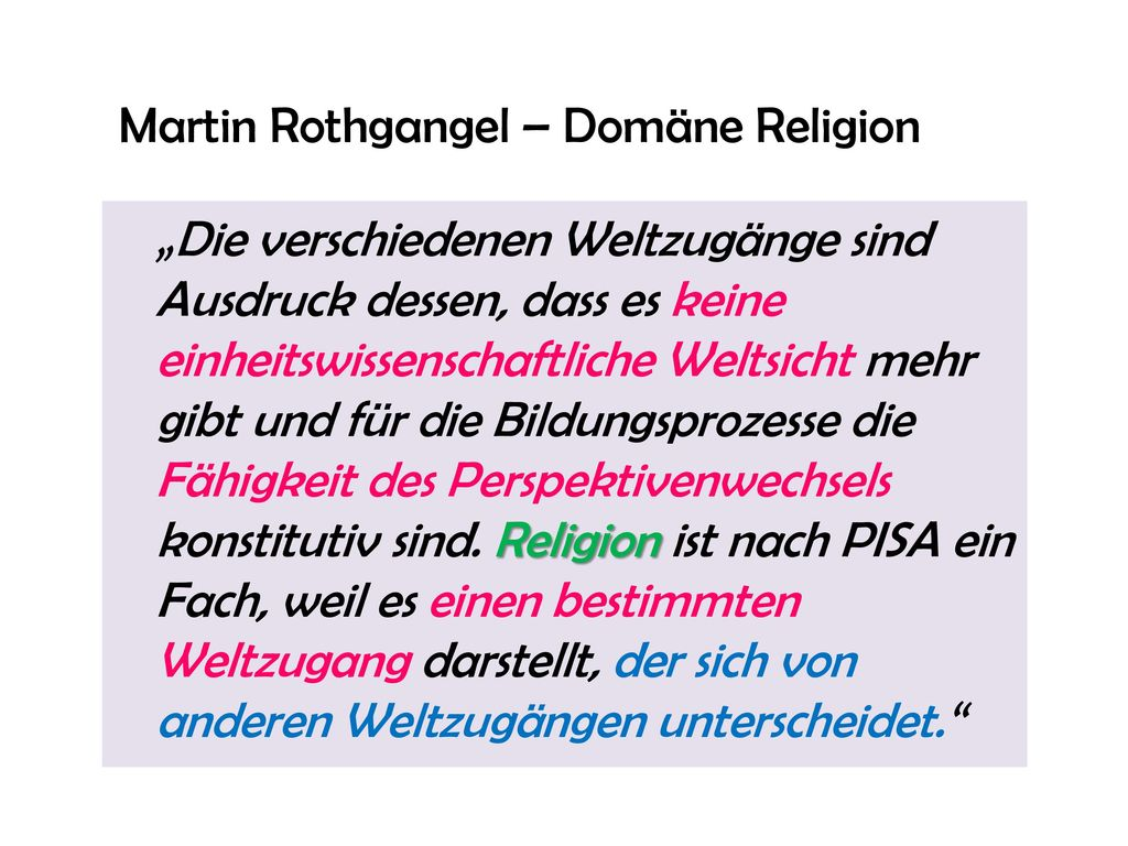 Martin Rothgangel – Domäne Religion