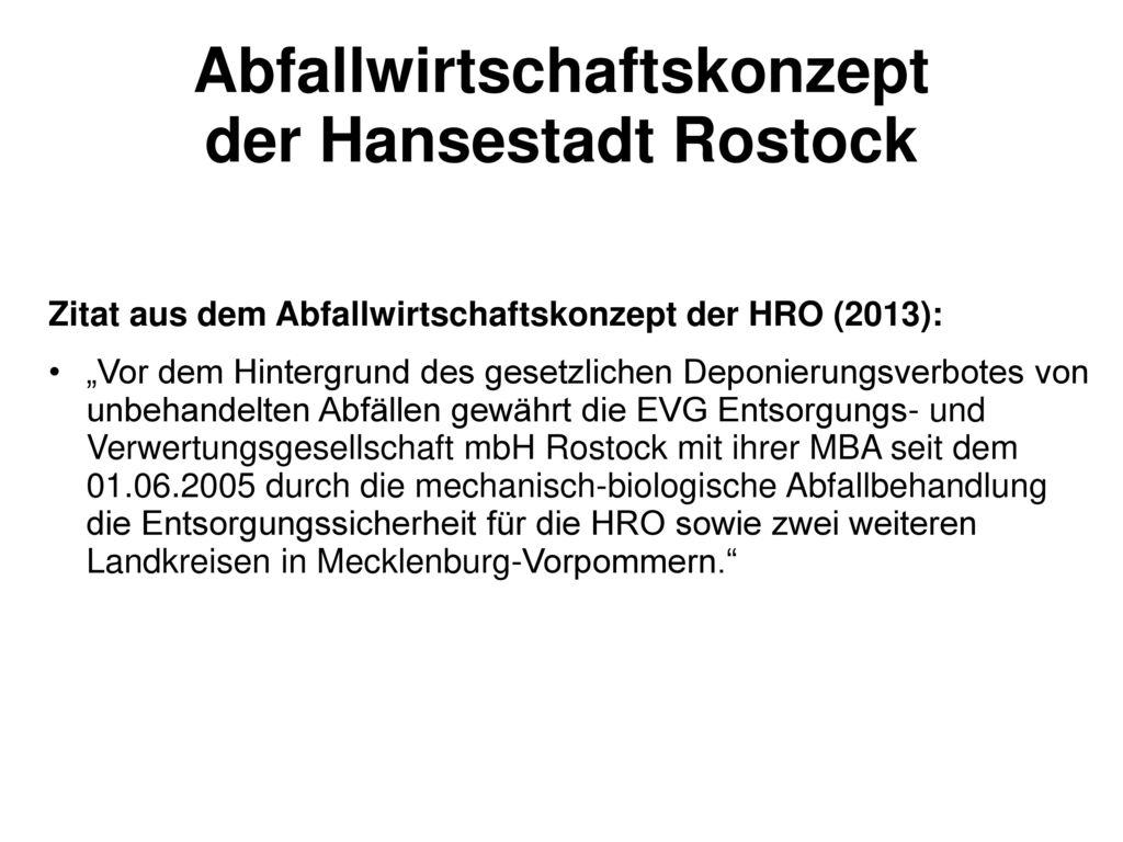 Abfallwirtschaftskonzept der Hansestadt Rostock