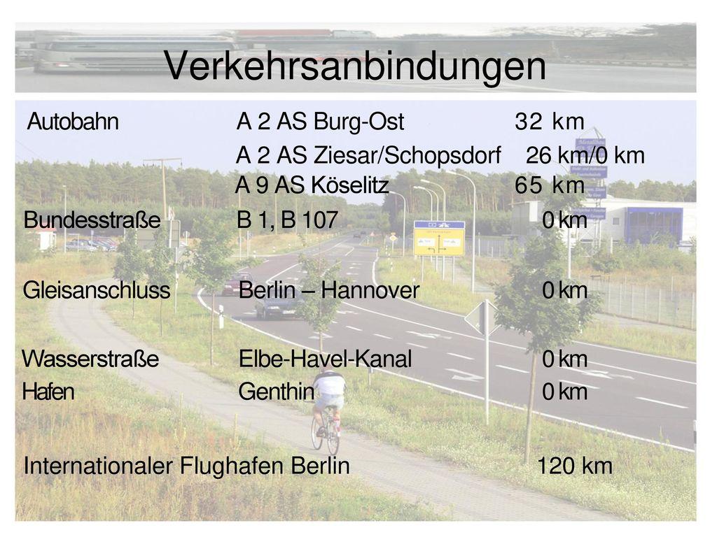 Verkehrsanbindungen Autobahn A 2 AS Burg-Ost 32 km