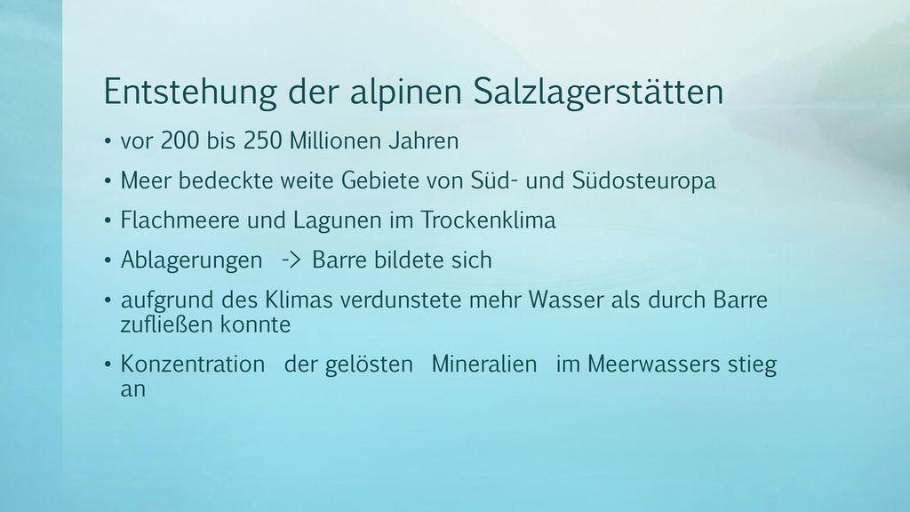 Entstehung der alpinen Salzlagerstätten