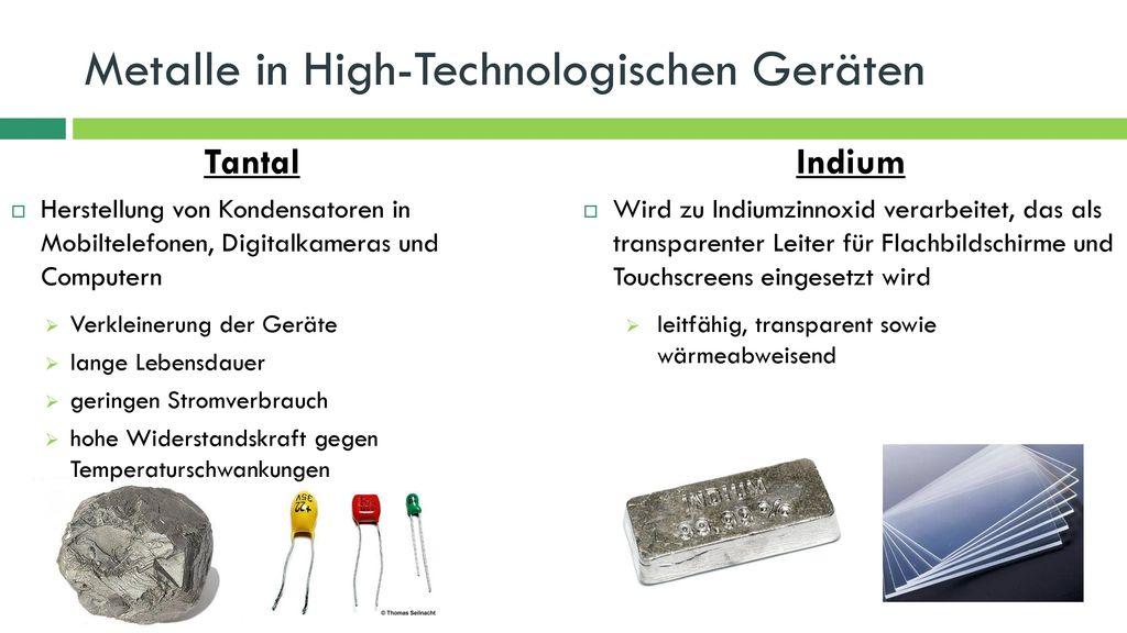 Metalle in High-Technologischen Geräten