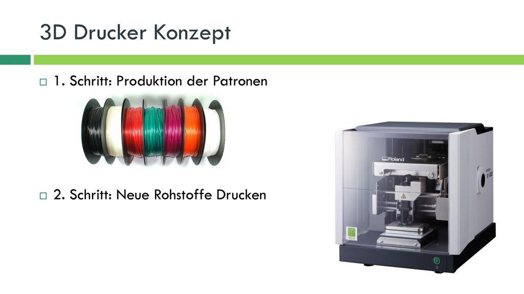 3D Drucker Konzept 1. Schritt: Produktion der Patronen