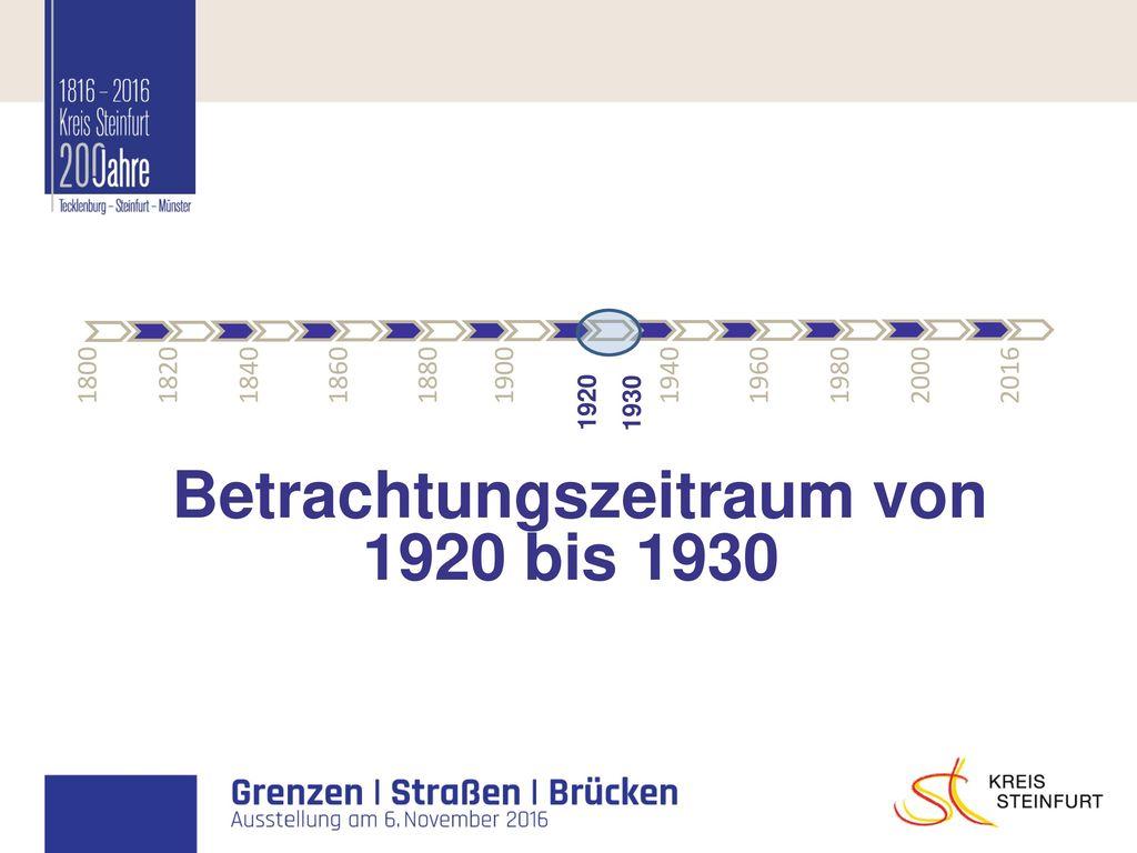 Betrachtungszeitraum von 1920 bis 1930