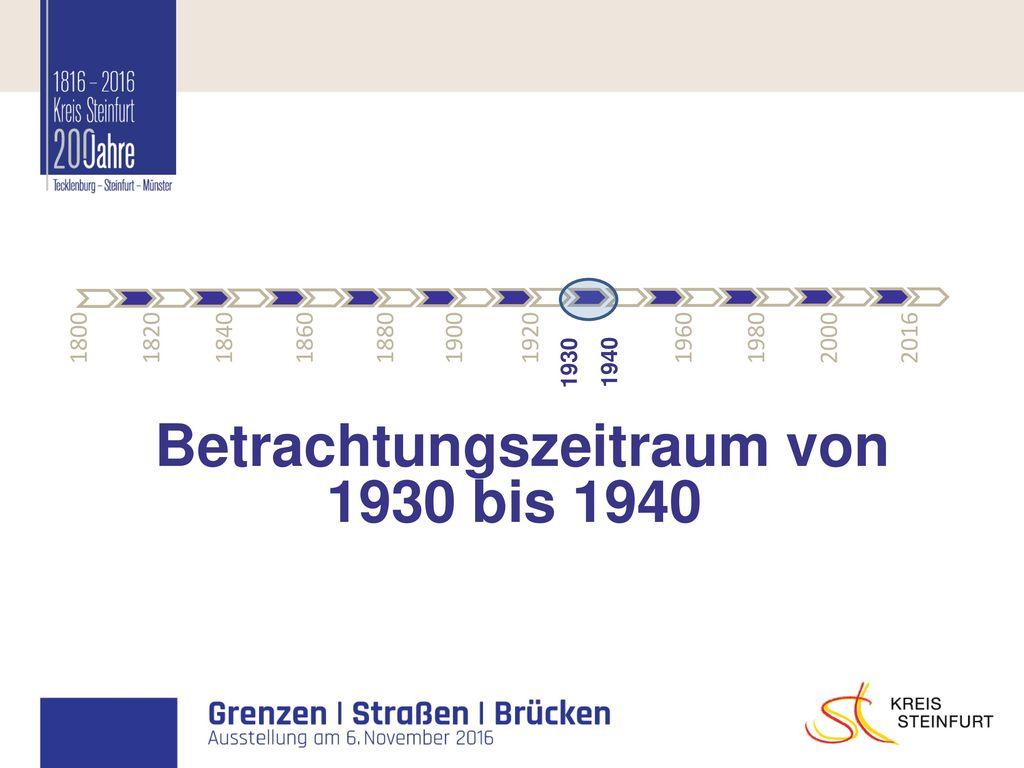 Betrachtungszeitraum von 1930 bis 1940