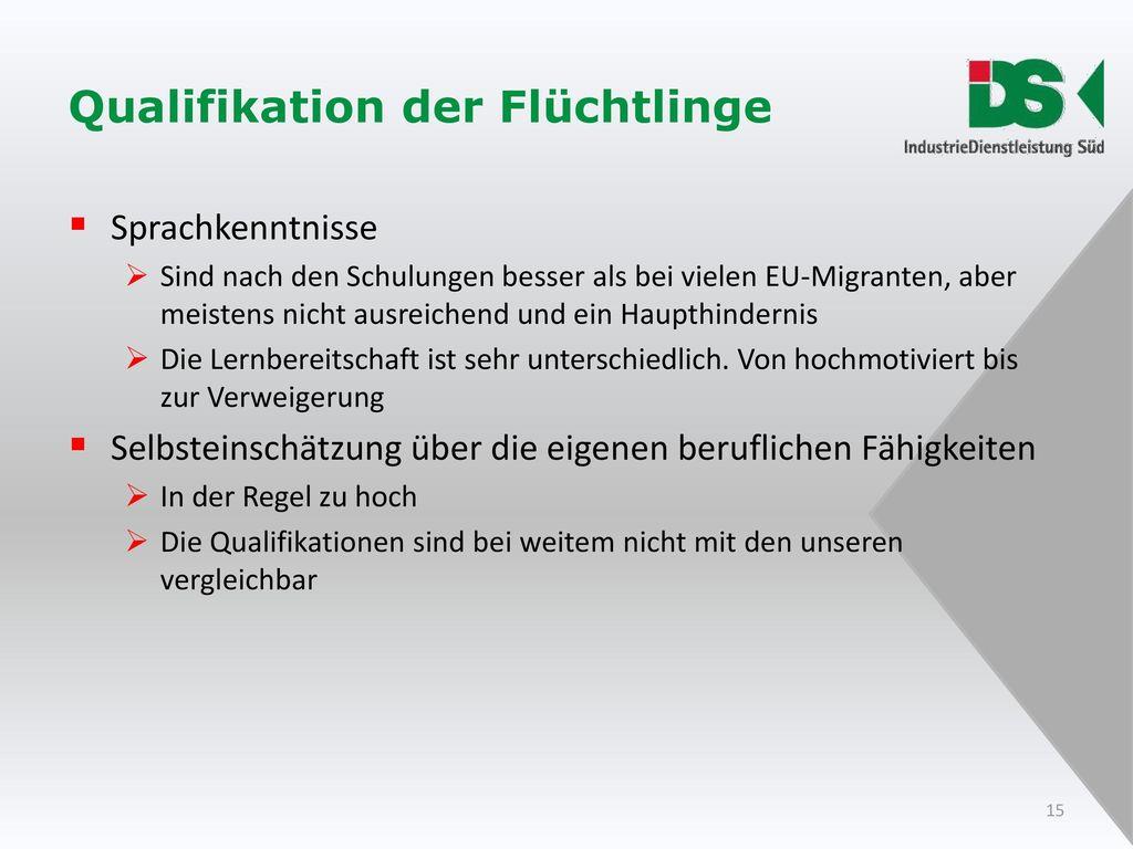 Qualifikation der Flüchtlinge
