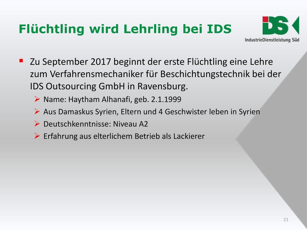 Flüchtling wird Lehrling bei IDS