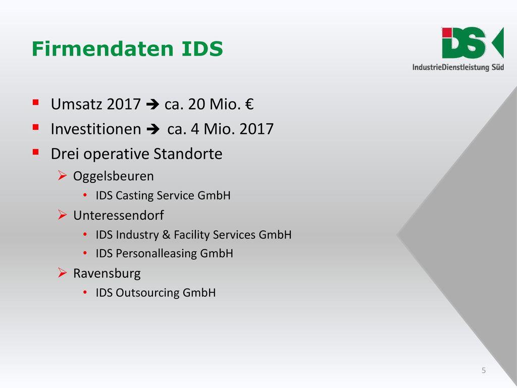 Firmendaten IDS Umsatz 2017  ca. 20 Mio. €