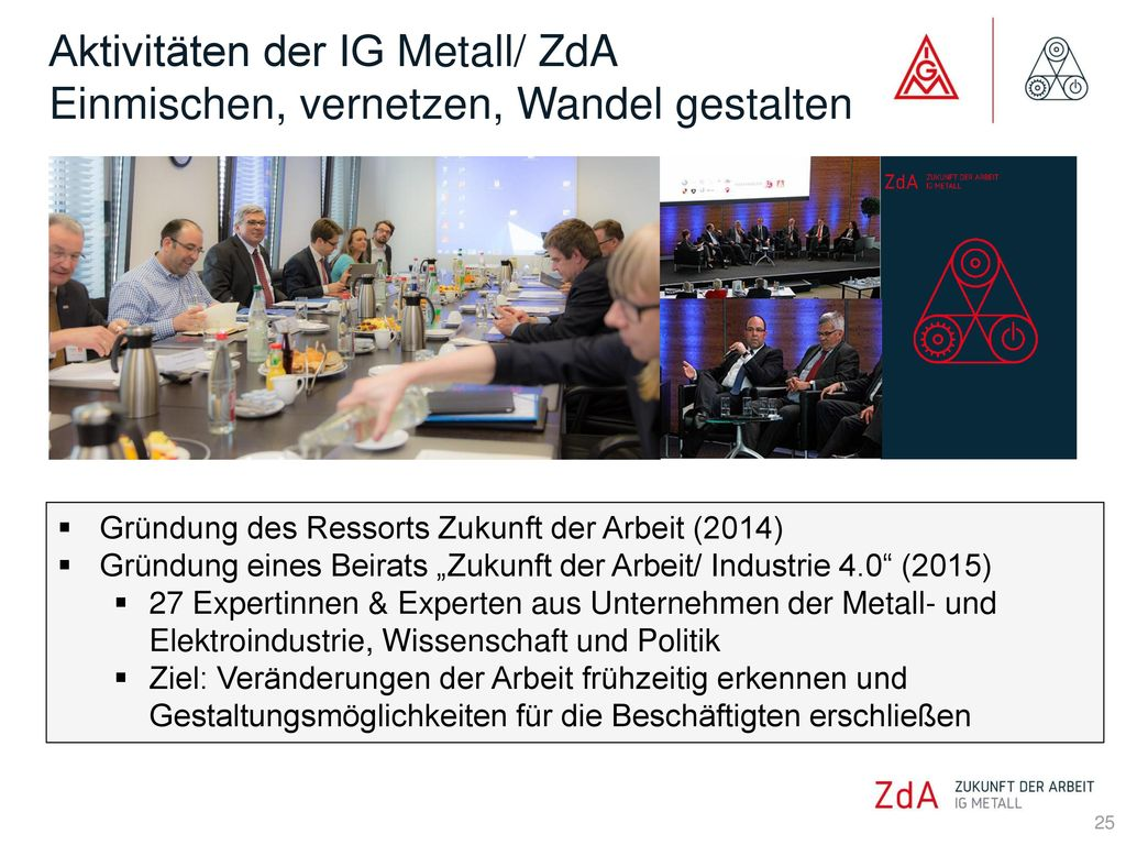 Aktivitäten der IG Metall/ ZdA Einmischen, vernetzen, Wandel gestalten
