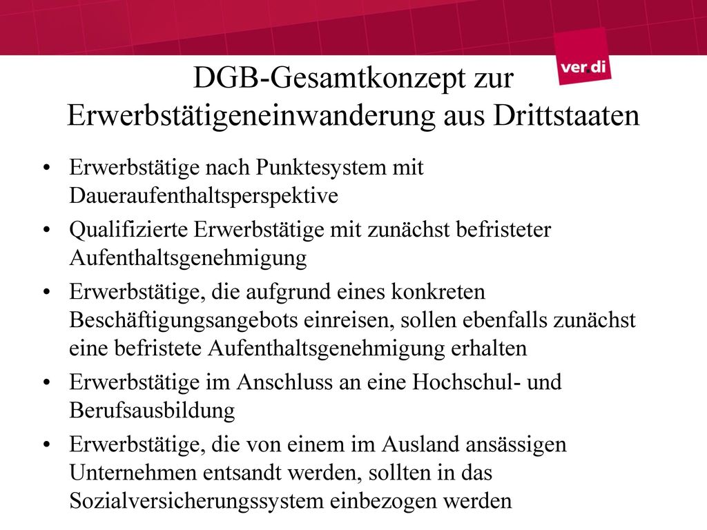 DGB-Gesamtkonzept zur Erwerbstätigeneinwanderung aus Drittstaaten