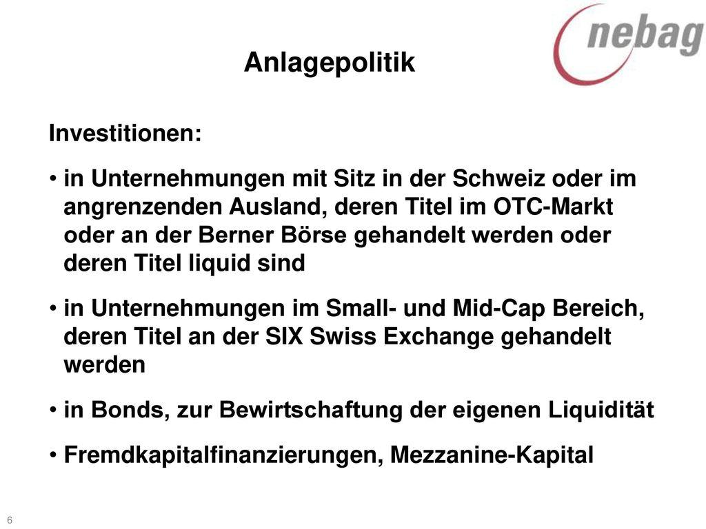 Anlagepolitik Investitionen: