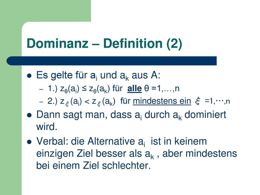 Dominanz – Definition (2)