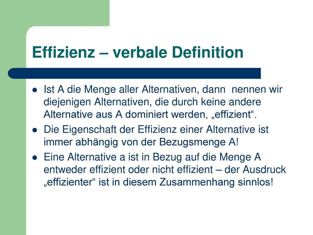 Effizienz – verbale Definition