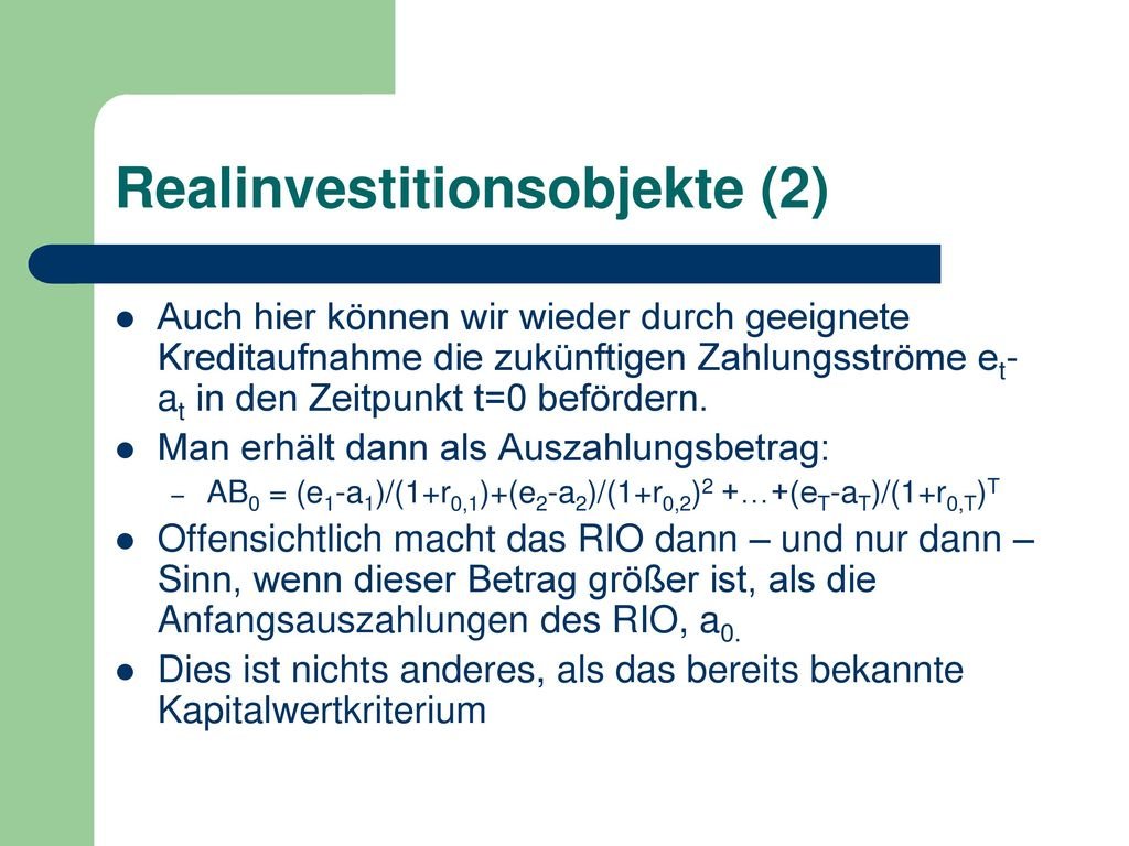 Realinvestitionsobjekte (2)