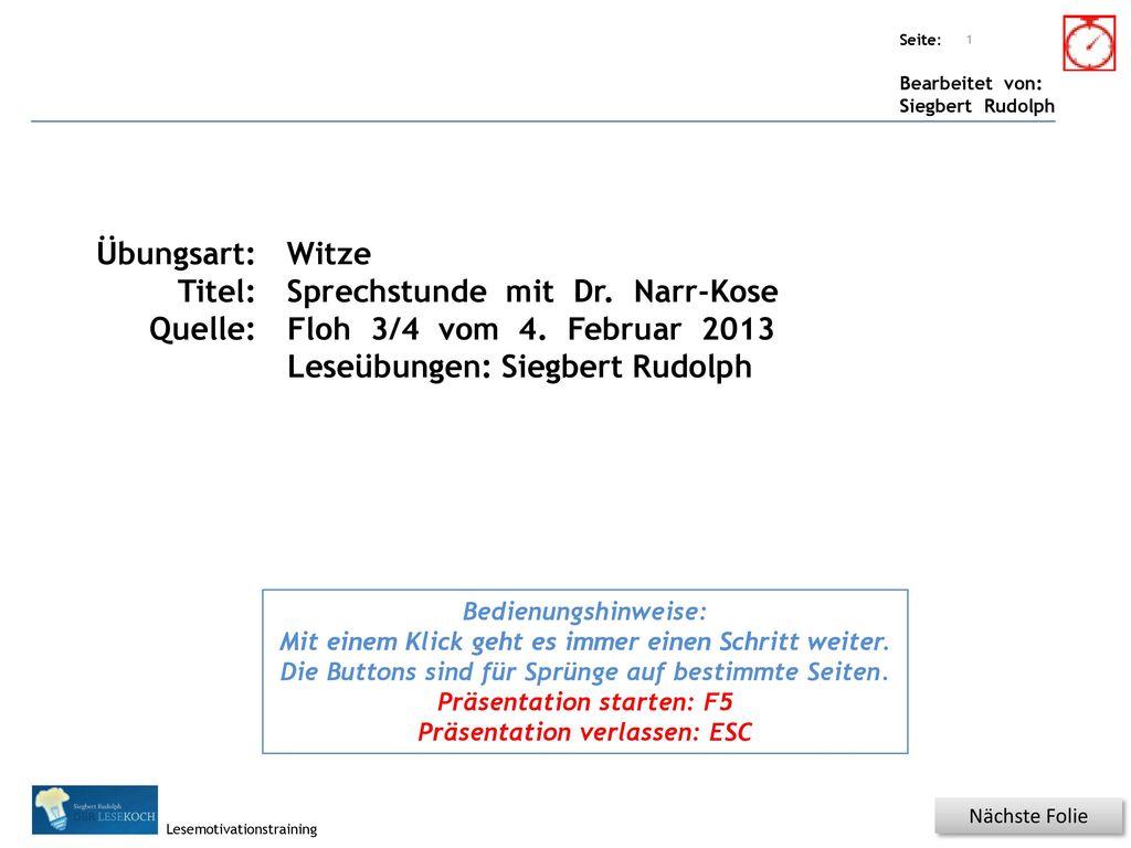 Sprechstunde mit Dr. Narr-Kose