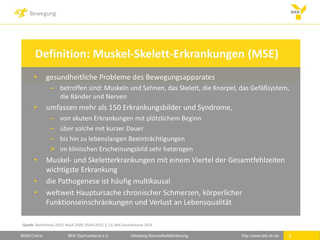 Definition: Muskel-Skelett-Erkrankungen (MSE)
