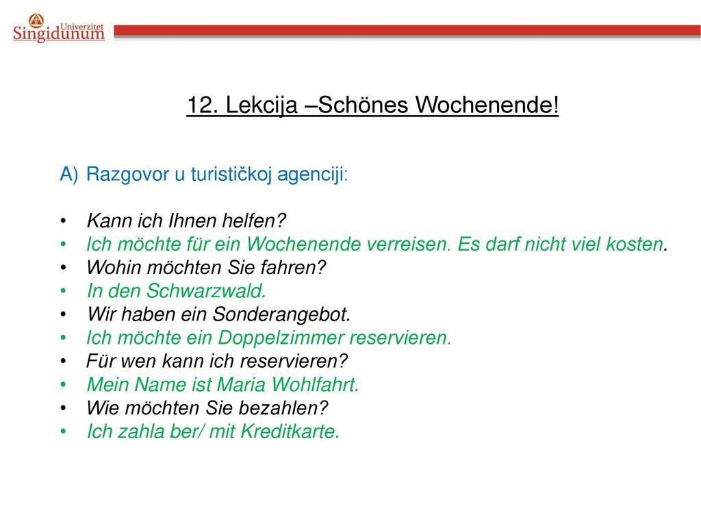 12. Lekcija –Schönes Wochenende!