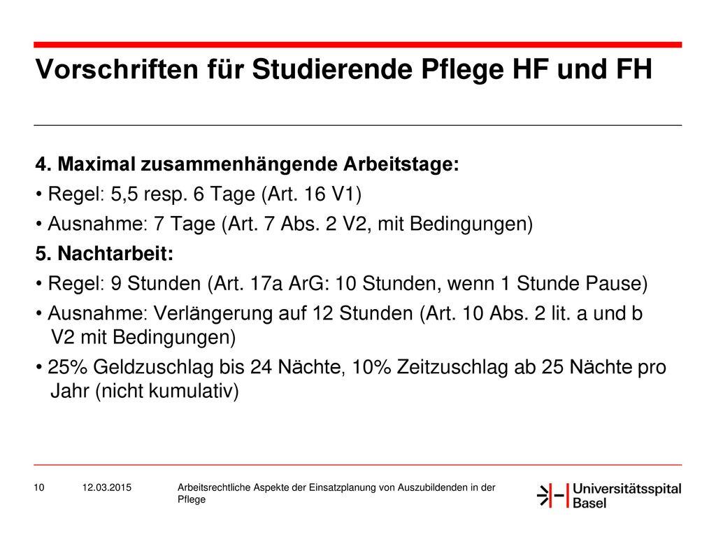 Vorschriften für Studierende Pflege HF und FH