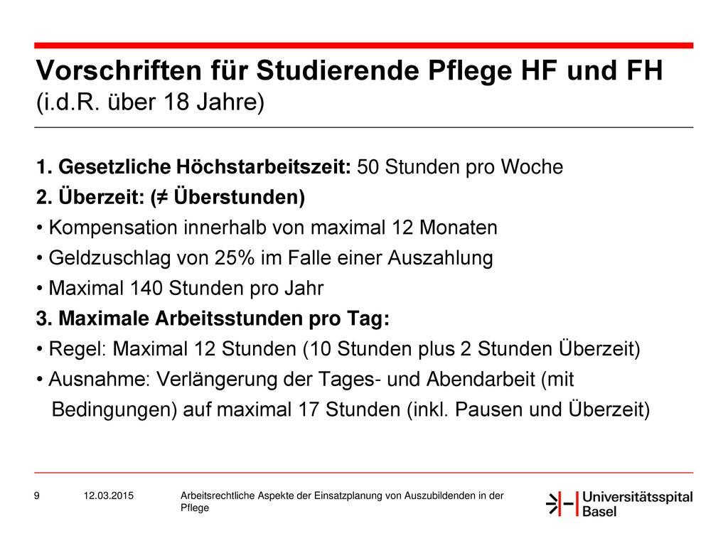 Vorschriften für Studierende Pflege HF und FH (i.d.R. über 18 Jahre)